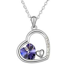 Amazing Silver & Purple Heart Pendant Love Crystal Necklace N225