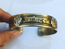 Large Tibetan Copper Thread Weaving Mantra OM Mani 4 Dorje Amulet Cuff Bracelet