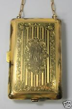 Antique Victorian Art Nouveau Gold Shell Necessaire Card Case Coin Purse Compact