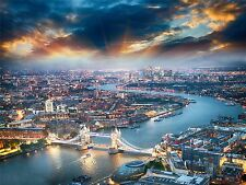 PHOTOGRAPHY CITYSCAPE COMPOSITION AERIAL VIEW LONDON THAMES ART POSTER MP3299A