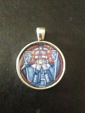 Transformers Autobots Optimus Prime Stained Glass Necklace Keyring