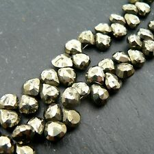 Pyrite Faceted Heart Briolette Beads (set of 10) Semi Precious Gemstone