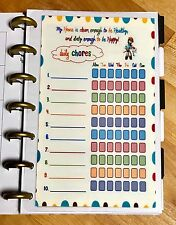 Daily Chores Cleaning Schedule Dashboard Insert for use w/ MINI HAPPY Planner