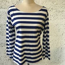 BNWT TRAFALUC ZARA BLUE & WHITE BRETON 3/4 SLEEVED TEE LARGE 12/14 Z328