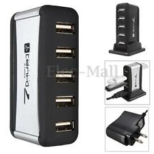 US Plug 7 Ports USB 2.0 Hub High Speed + Power Adapter for PC Laptop Desktop Mac