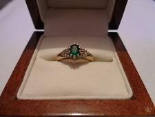 9ct yellow gold emerald & diamond ring size J 1/2