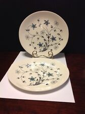 """Johnson Bros """"Titania"""" Blue/White Flowers Dinner Plate Lot Of 2 Made In England"""