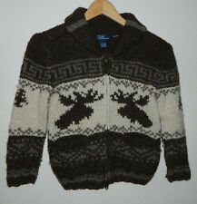 Boys Youth Polo Ralph Lauren Hand Knit Moose Long Sleeve Full Zip Sweater 7