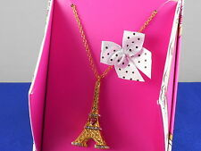 Betsey Johnson GIFTING Goldtone Eiffel Tower Pendant Necklace B11622-N01 Boxed