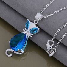 925 sterling Silver plate jewelry fashion women cat crystal charms cute necklace
