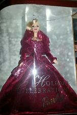 2002 HOLIDAY CELEBRATION Barbie Doll #56209 ~ Blonde in Burgundy Red Gown