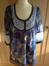 GREAT MAMA LICIOUS CHIFFON BLUE & WHITE TUNIC 3/4 LENGTH SLLEVES SIZE M BNWT