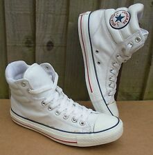 MENS OR WOMENS WHITE LEATHER CONVERSE ALL STAR HI-TOP TRAINERS SIZE UK 7