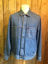 vtg LEVIS denim TRUCKER jacket LARGE 44 chest RED tab COPPER RIVETS faded SOFT