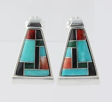 Relios Carolyn Pollack Stone Mosaic Earrings Sterling Silver 925 Pierced J-Hook