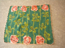 Vintage Hankie Green Rose Floral Wedding country Bright colors Cute retro