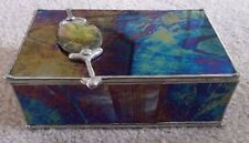 Iridescent Stained Glass TRINKET BOX with Shell Accent