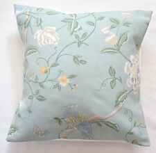 "16"" Laura Ashley 'Summer Palace' Eau De Nil Floral fabric cushion cover"
