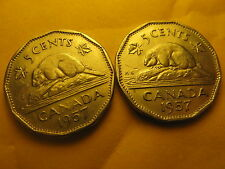 2 VARIETIES CANADA 1957 5 CENT COINS PLAIN & BUG TAIL VARIETIES