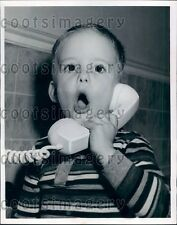 1959 Chicago Toddler Boy Calls For Help on Telephone Press Photo