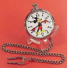 Vintage 2inch English MIckey Mouse  UMF Pocket Watch Running Timekeeping