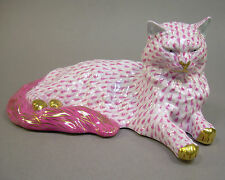 Herend Lying Cat Figurine Pink Fishnet and Gold Decoration Handpainted Signed
