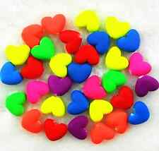25Pcs 14*16 mm Matte Rubber Heart Candy Color Acrylic Spacer Loose Beads