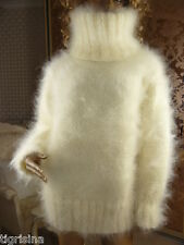 Mohair Hand Knitted Fluffy Thick Unisex White Cream T-neck Sweater Jumper