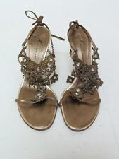 Giuseppe Zanotti Sandal Ethnic Brass & Crystal Embellished Leather Gold Size 38