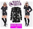 Iron Fist Pussy Cat Pussy Kitty Black Romper/Onesie XS-XL UK6-14