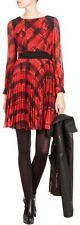 KAREN MILLEN SIGNATURE RED TARTAN CHECK SILK PLEATED SKIRT DRESS SIZE 10