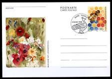 Biene und Sommerwiese. Postkarte. SoSt. Liechtenstein 1996