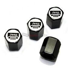 (4) Jeep Silver Grille Logo Black ABS Tire/Wheel Air Stem Valve CAPS Covers