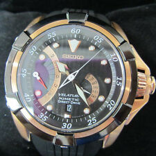 SEIKO VELATURA MEN'S WATCH KINETIC DIRECT DRIVE ROSE GOLD URETHANE BAND SRH006