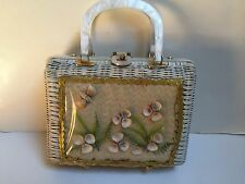 Vintage 1960s Handmade British Hong Kong White Sea Shell Basket Lucite Purse