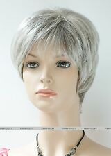 Hivision Gray Mixed short middle aged women elderly Ladies Daily Wig FTLD171
