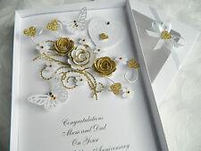 Día de boda hecho a mano personalizado de Oro Aniversario Cumpleaños Compromiso En Caja