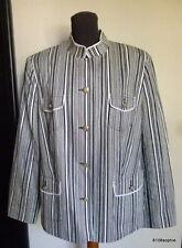 BASLER veste coton bleu foncé marine rayé blanc ecru 46  France 48 / UK 20 XL