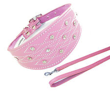 12-14 Inch Diamante Pink Lead Set Whippet Greyhound Dog Collar Padded Backing