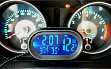 Car Blue LED Light Digital Dual 2 Thermometer Voltmeter Alarm Clock Gauge Sets
