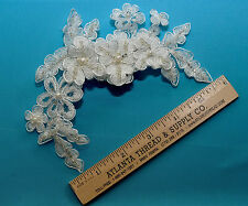 BRIDAL HAIR PIECE LACE FLOWERS , LEAVES, PEARLS, RHINESTONES ON CLIP WHITE IVORY