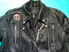 Motorhead Black Faux Leather Girls' Biker Motorcycle Jacket Punk Metal Vegan