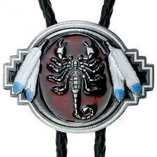 Bolo Tie Escorpión con Plumas indias, Indio, Oeste, Bolotie