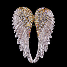 Lovely Golden Angel Wing 5.5cm Long Use Swarovski Crystal Brooch Pin Scarves