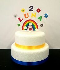 Personalised any name and age Rainbow,  Birthday / Christening Cake Topper