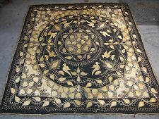 Antique Indian Islamic embroidery Mughal c. 1900 silver on wool 66 x 62 in