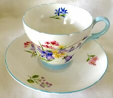 PRETTY SHELLEY CUP & SAUCER, WILD FLOWERS, BLUE, 13668, GAINSBOROUGH, FAB COND