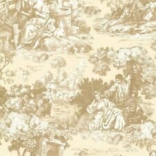 Victorian Vintage Isabella Gold Creme Tan Toile Wallpaper Designer Wallcoverings