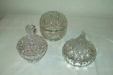 THREE LEAD CRYSTAL COVERED CANDY OR WHAT-EVER DISHES VERY NICE