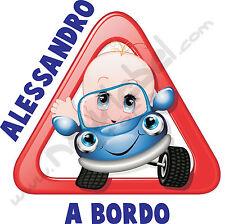 ADESIVO BIMBO BIMBA BEBE' A BORDO per auto personalizzato con il nome